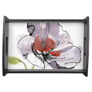 Abstract painted floral background 3 serving tray
