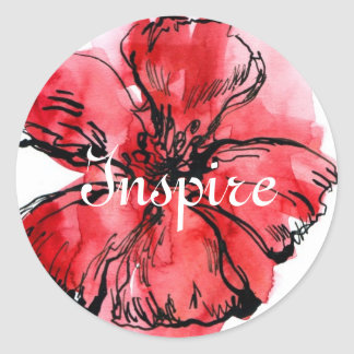 Abstract painted floral background 4 classic round sticker