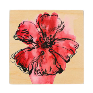Abstract painted floral background 4 maple wood coaster