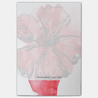Abstract painted floral background 4 post-it notes