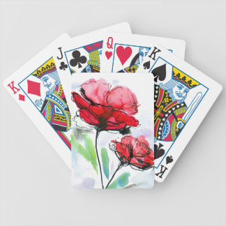 Abstract painted floral background bicycle playing cards