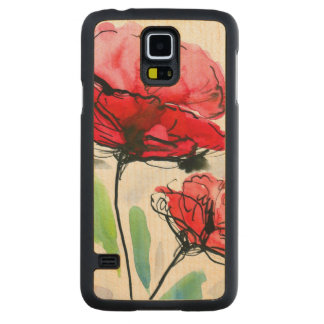 Abstract painted floral background carved maple galaxy s5 case