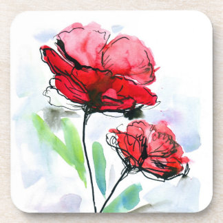 Abstract painted floral background coasters