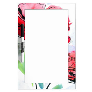 Abstract painted floral background dry erase board