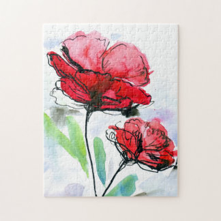 Abstract painted floral background puzzle