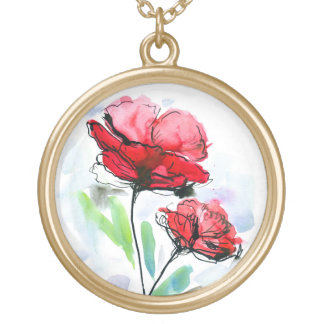 Abstract painted floral background round pendant necklace