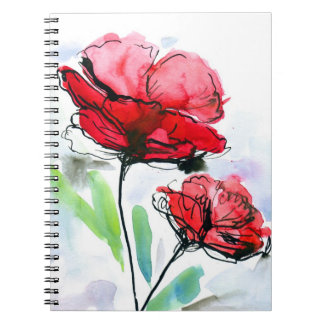 Abstract painted floral background spiral notebook