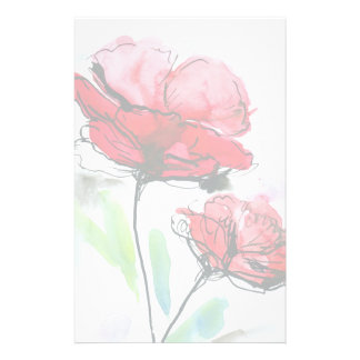 Abstract painted floral background stationery
