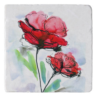Abstract painted floral background trivet
