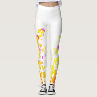 Abstract painted floral leggings