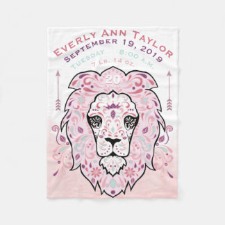 Abstract Painted Lion Baby Girl Birth Stats Record Fleece Blanket