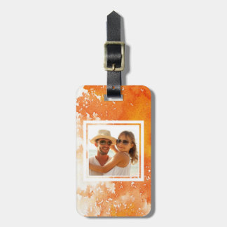 Abstract Painted Orange Watercolor | Add your Name Luggage Tag
