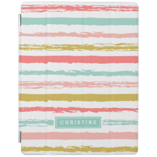 Abstract Painted Stripes Monogram iPad Cover
