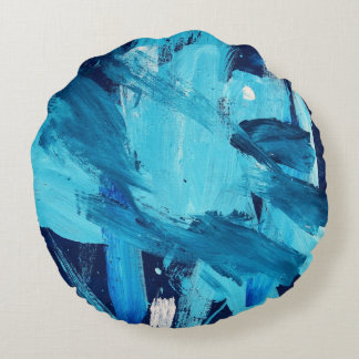 Abstract Painting 68 Ocean Tide Round Cushion