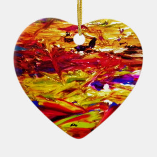 Abstract Painting Ceramic Heart Decoration