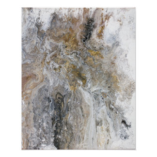Abstract Painting Gray Black Gold White Artwork Poster
