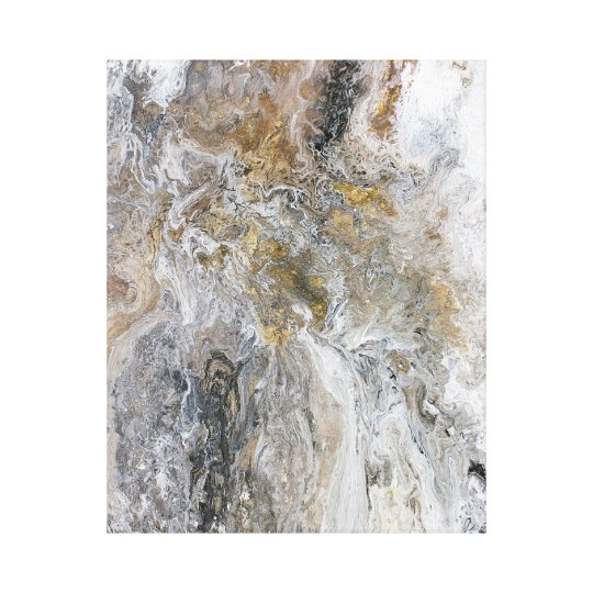 Abstract Painting Grey Black Gold White Artwork Canvas