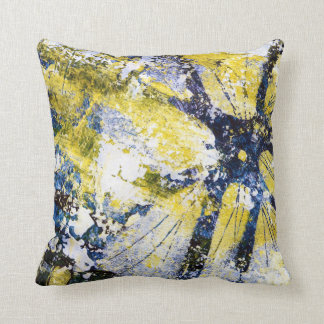 Abstract Painting in blue and yellow, pillow