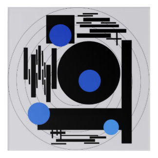 Abstract painting -  Optical Blue Abstract vector Acrylic Wall Art