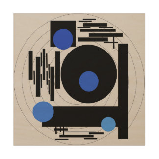 Abstract painting -  Optical Blue Abstract vector Wood Wall Art