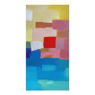 Abstract Painting Sea / Island / Sky - Red Square Picture Card