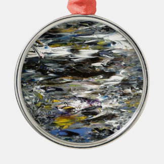 Abstract Painting Silver-Colored Round Decoration