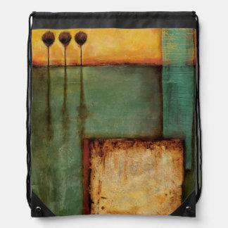 Abstract Painting with Piano Keys Drawstring Bag