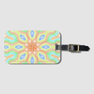 Abstract Pale Neon Rainbow Flower Luggage Tag