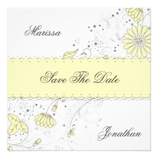 Abstract Pale Yellow Gray Flowers Save The Date Announcements