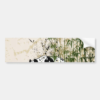 Abstract panda in bamboo forest car bumper sticker