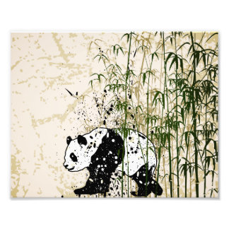 Abstract panda in bamboo forest photo print