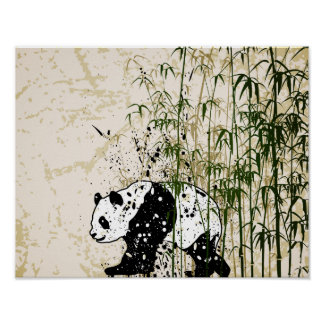 Abstract panda in bamboo forest poster