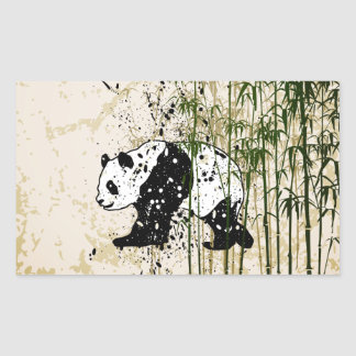 Abstract panda in bamboo forest rectangular sticker