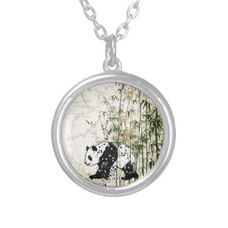 Abstract panda in bamboo forest silver plated necklace