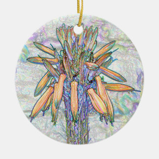 Abstract Pastel Flowers Drawing Ornament