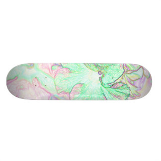 Abstract Pastel Flowers Drawing Skate Board Deck