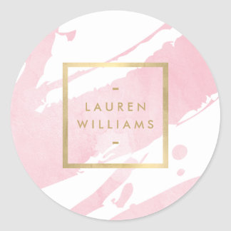 Abstract Pastel Pink Watercolor Brushstrokes Classic Round Sticker