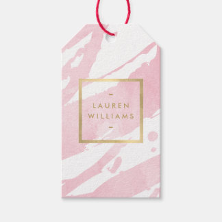 Abstract Pastel Pink Watercolor Brushstrokes Gift Tags