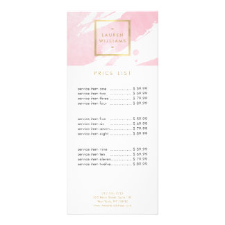 Abstract Pastel Pink Watercolor Brushstrokes Rack Card