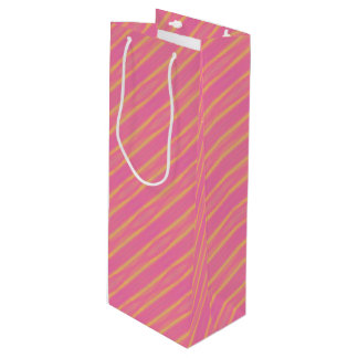 Abstract Pastel Pink, Yellow Diagonal Stripes Wine Gift Bag
