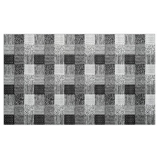 Abstract Patchwork - Black and White Fabric