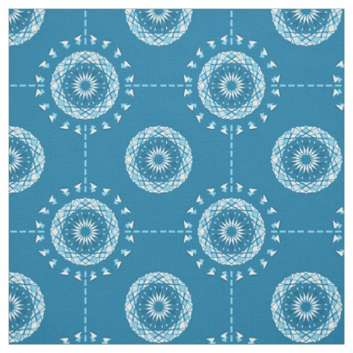 Abstract patchwork mandala in light and dark blues