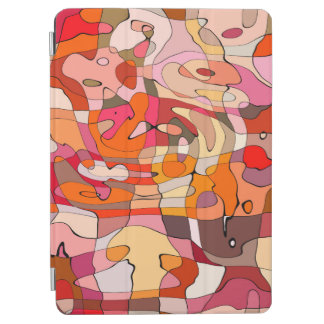 Abstract Pattern Artistic Red Brown Contours iPad Air Cover