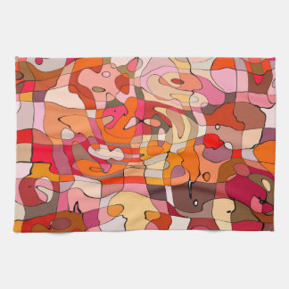 Abstract Pattern Artistic Red Brown Contours Tea Towel