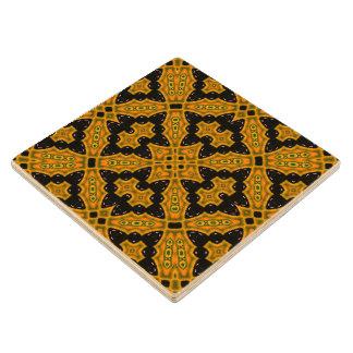 Abstract Pattern black orange Wood Coaster