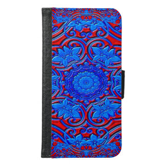 Abstract Pattern Blue And Red Background Samsung Galaxy S6 Wallet Case