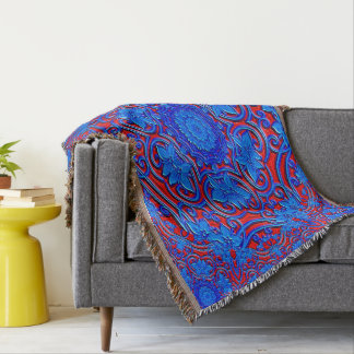 Abstract Pattern Blue And Red Background Throw Blanket