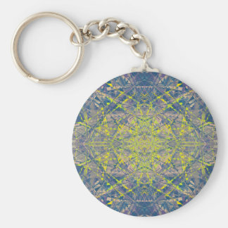 Abstract Pattern Blue Crystal Look Background Basic Round Button Key Ring