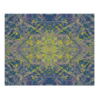 Abstract Pattern Blue Crystal Look Background Poster