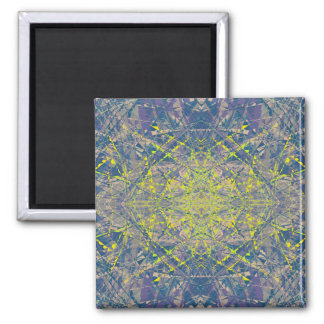 Abstract Pattern Blue Crystal Look Background Square Magnet